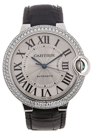 Cartier Ballon Blue Srebrny/Skóra Ø40 mm WE902056