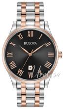 Bulova Bracelet Czarny/Stal w kolorze różowego złota Ø40 mm