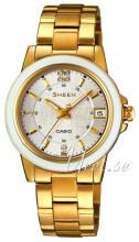 Casio Sheen Biały/Stal w odcieniu złota Ø31 mm