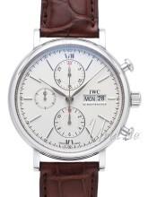 IWC Portofino Chronograph Srebrny/Skóra Ø42 mm