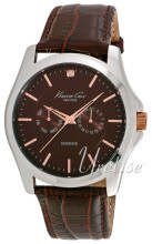 Kenneth Cole Mens Leather Brązowy/Skóra Ø45 mm