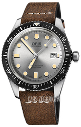 Oris Diving Srebrny/Skóra Ø42 mm 01 733 7720 4051-07 5 21 02