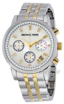 Michael Kors Chronograph Biały/Stal w odcieniu złota Ø38 mm