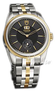 Tudor Glamour Double Date Czarny/18 karatowe żółte złoto Ø42 mm