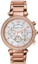 Michael Kors Parker Chronograph Glitz Biały/Stal w kolorze różow