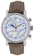 Nautica Chronograph Biały/Skóra