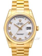 Rolex Day-Date 36 Biały/18 karatowe żółte złoto