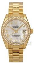 Rolex Datejust 31 Biały/18 karatowe żółte złoto