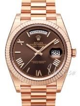 Rolex Day-Date 40 Brązowy/18 karatowe różowe złoto Ø40 mm
