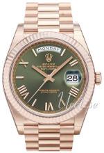 Rolex Day-Date 40 Zielony/18 karatowe różowe złoto Ø40 mm