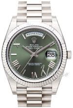 Rolex Day-Date 40 Zielony/18 karatowe białe złoto Ø40 mm