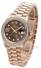 Rolex Lady-Datejust 28 Brązowy/18 karatowe różowe złoto