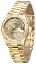 Rolex Lady-Datejust 28 Niebieski/18 karatowe żółte złoto