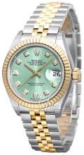 Rolex Lady-Datejust 28 Zielony/18 karatowe żółte złoto Ø28 mm