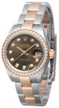 Rolex Lady-Datejust 28 Brązowy/18 karatowe różowe złoto Ø28 mm