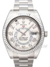 Rolex Sky-Dweller Biały/18 karatowe białe złoto Ø42 mm