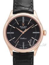 Rolex Cellini Time Czarny/Skóra