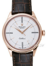 Rolex Cellini Time Biały/Skóra