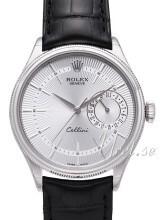 Rolex Cellini Date Srebrny/Skóra Ø39 mm