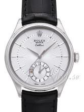 Rolex Cellini Dual Time Srebrny/Skóra