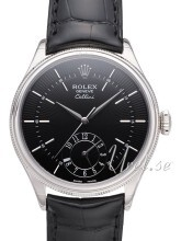 Rolex Cellini Dual Time Czarny/Skóra
