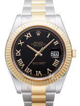 Rolex Datejust II Czarna/18 karatowe żółte złoto Ø41 mm