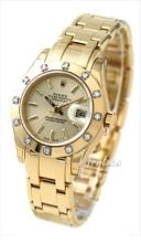 Rolex Lady Datejust Pearlmaster Szampański/18 karatowe żółte zło