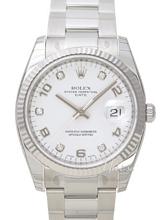 Rolex Oyster Perpetual Date Srebrny/Stal Ø34 mm