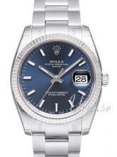 Rolex Oyster Perpetual Date Niebieski/Stal Ø34 mm