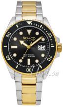 So & Co New York Yacht Timer Czarny/Stal w odcieniu złota Ø40 mm