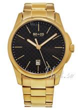 So & Co New York Madison Czarny/Stal w odcieniu złota Ø42 mm