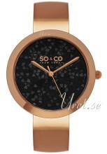 So & Co New York SoHo Czarny/Stal w kolorze różowego złota Ø38 m